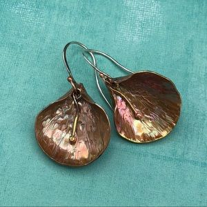 Hammer-forged copper and brass lily earrings